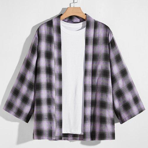 Kimono à carreaux - SHEIN - Modalova