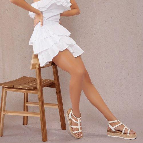 Sandales espadrilles cloutées en similicuir - SHEIN - Modalova