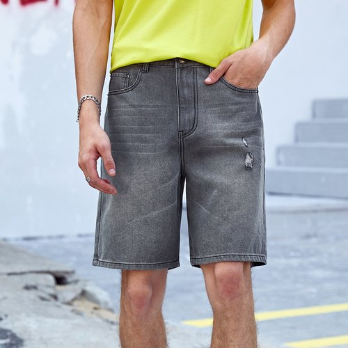 Short en jean déchiré avec poche - SHEIN - Modalova