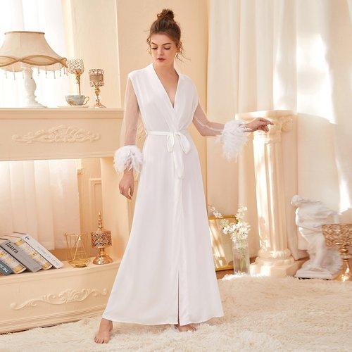 Robe de chambre de nuit ceinturée avec tulle - SHEIN - Modalova