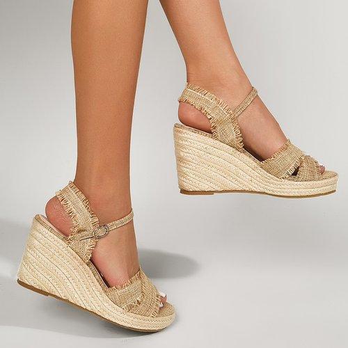 Sandales compensées espadrilles croisées - SHEIN - Modalova