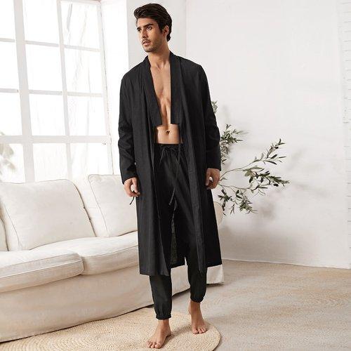 Ensemble de pyjama robe de chambre en tricot fendue & pantalon - SHEIN - Modalova