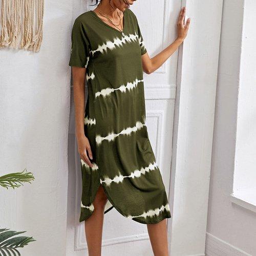 Robe t-shirt fendue à rayures - SHEIN - Modalova