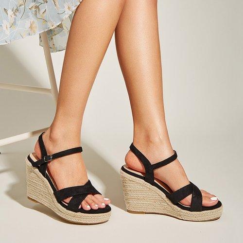 Sandales espadrilles compensées croisées - SHEIN - Modalova