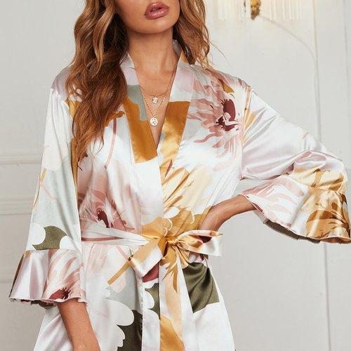 Robe de chambre de nuit en satin ceinturée fleurie - SHEIN - Modalova