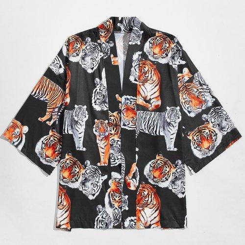 Kimono avec imprimé tigre - SHEIN - Modalova