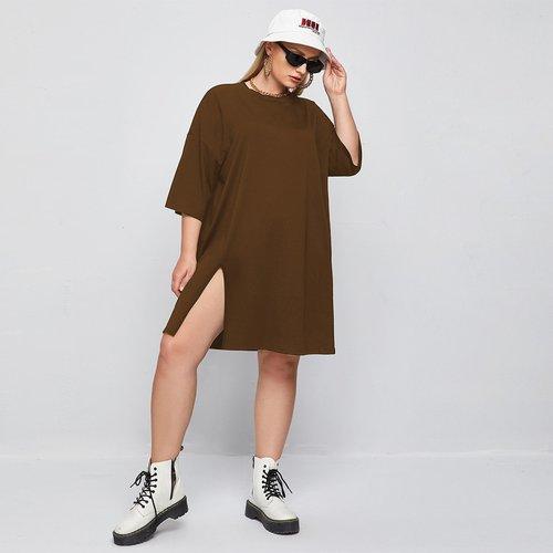 Robe t-shirt fendue longue unicolore - SHEIN - Modalova