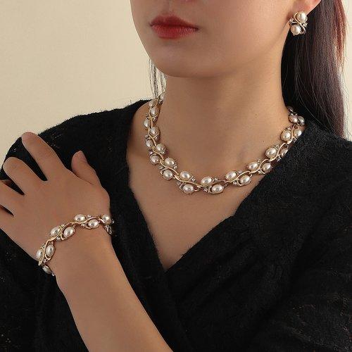 Collier à perle & Boucles d'oreilles & Bracelet - SHEIN - Modalova