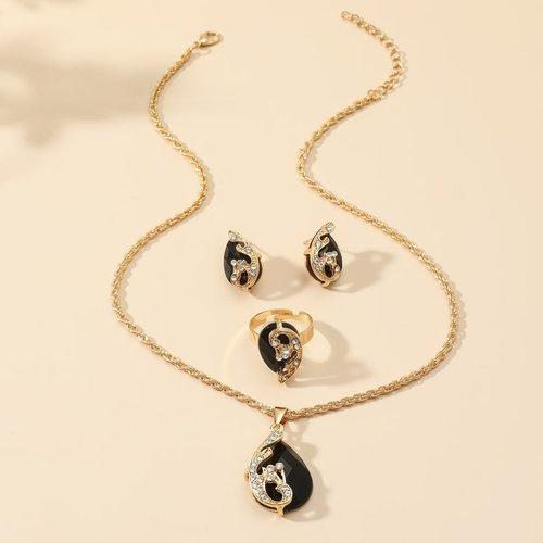 Collier à cristal & Boucles d'oreilles & Bague - SHEIN - Modalova