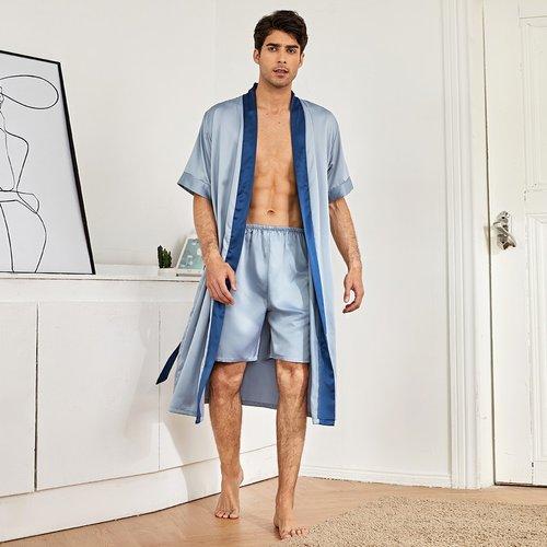 Ensemble de pyjama robe de chambre ceinturée en satin & short - SHEIN - Modalova