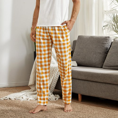 Pantalon de pyjama à carreaux avec poches - SHEIN - Modalova