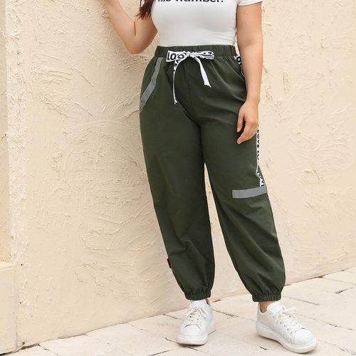 Pantalon de survêtement coupe-vent avec motif - SHEIN - Modalova