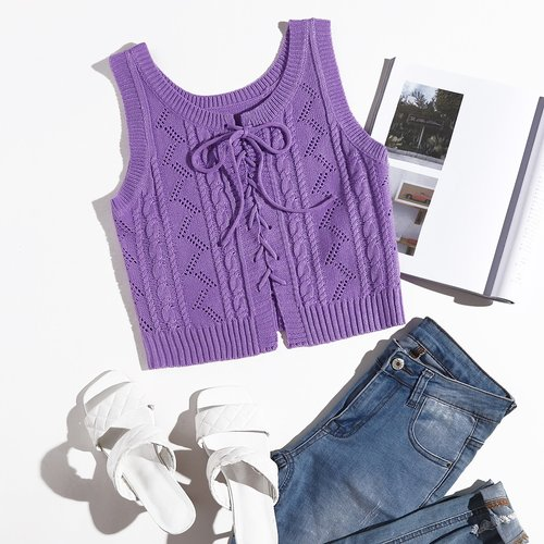 Gilet en tricot à lacets - SHEIN - Modalova