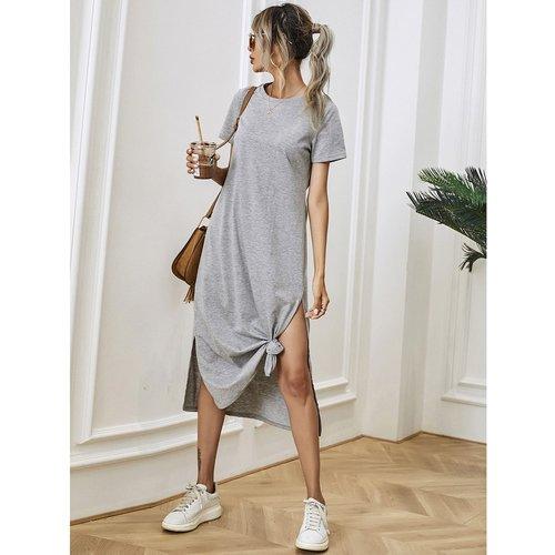 Robe t-shirt fendue unicolore - SHEIN - Modalova