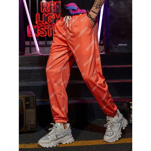 Pantalon de survêtement avec motif et cordon - SHEIN - Modalova