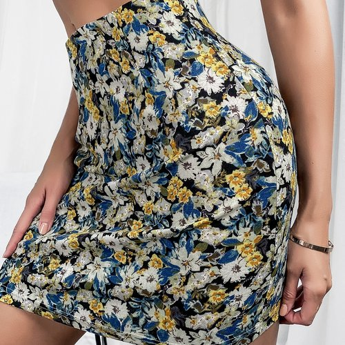 Jupe taille haute fleurie - SHEIN - Modalova