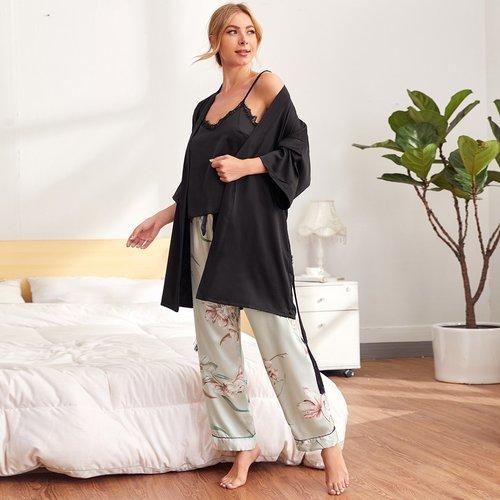 Pièces Ensemble de pyjama top & pantalon & robe de chambre - SHEIN - Modalova