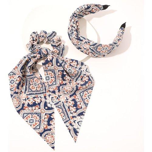 Élastique à cheveux à imprimé fleur & Bandeau - SHEIN - Modalova