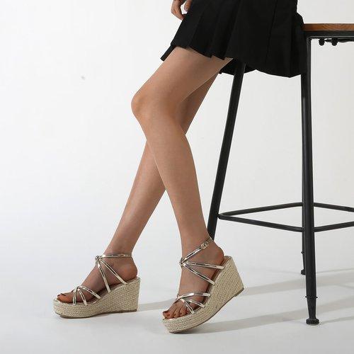 Sandales espadrilles compensées métalliques - SHEIN - Modalova