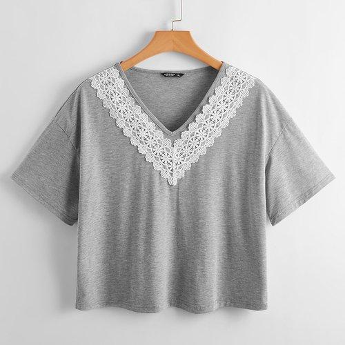 T-shirt avec dentelle - SHEIN - Modalova