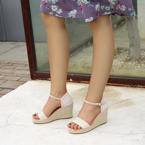 Sandales compensées espadrilles tissées - SHEIN - Modalova