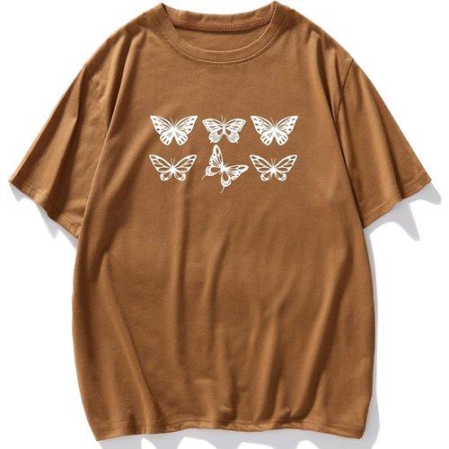 T-shirt à imprimé papillon - SHEIN - Modalova