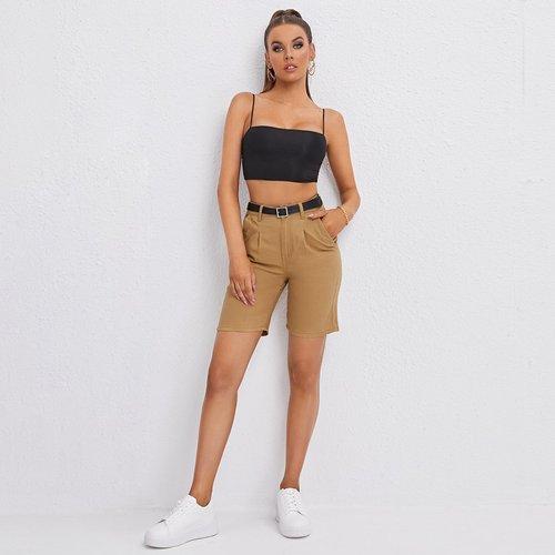 Short en jean ceinturé taille haute - SHEIN - Modalova