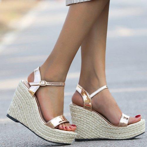 Sandales compensées espadrilles métalliques - SHEIN - Modalova