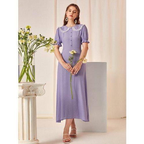 Robe chemise à col claudine - SHEIN - Modalova