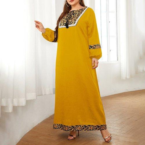 Robe tunique longue avec imprimé et dentelle - SHEIN - Modalova