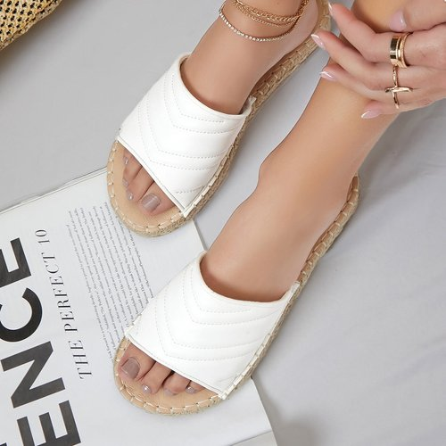Sandales glissantes espadrilles en similicuir - SHEIN - Modalova
