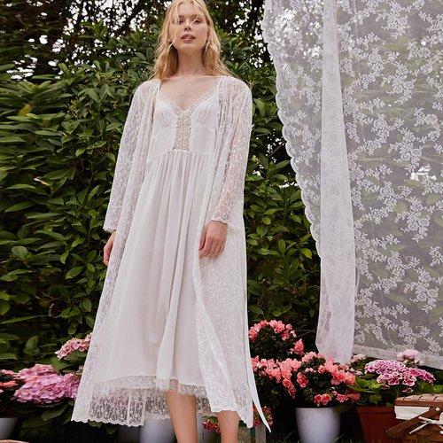 Robe avec dentelle & Robe de chambre - SHEIN - Modalova