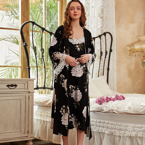 Robe fleurie avec dentelle & Robe de chambre - SHEIN - Modalova