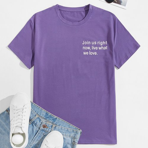 T-shirt à motif de slogan - SHEIN - Modalova