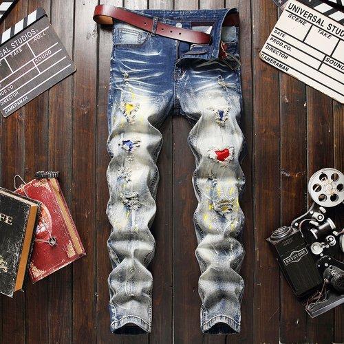 Jean déchiré avec imprimé éclaboussures (sans ceinture) - SHEIN - Modalova