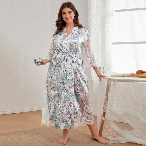 Robe de chambre ceinturée fleurie avec dentelle - SHEIN - Modalova
