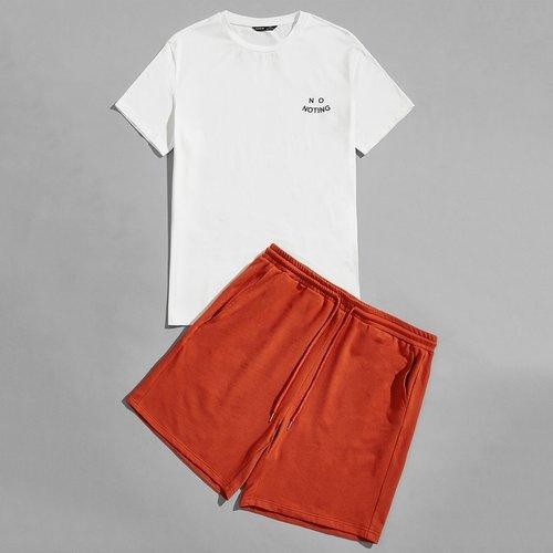 Lettre T-shirt & Short de sport Ensemble de pyjama - SHEIN - Modalova