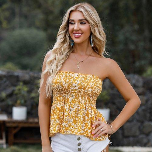 Top bustier fleuri - SHEIN - Modalova