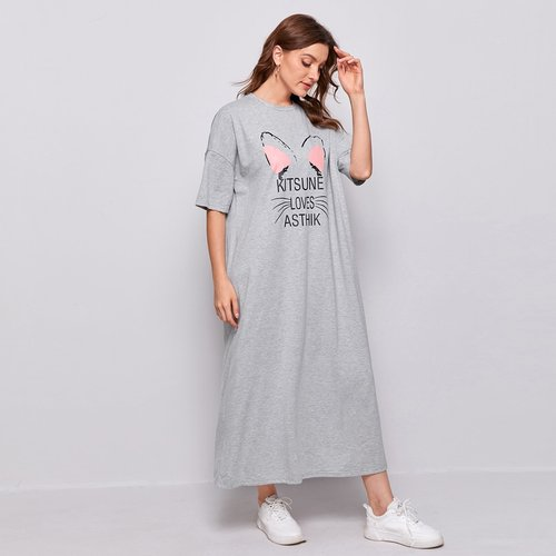Robe t-shirt avec imprimé - SHEIN - Modalova