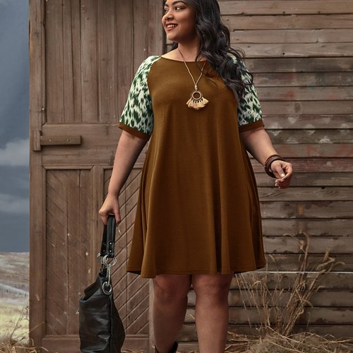 Robe t-shirt à manches raglan - SHEIN - Modalova