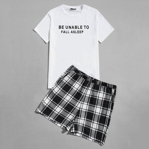 Slogan T-shirt & à carreaux Short Ensemble de pyjama - SHEIN - Modalova