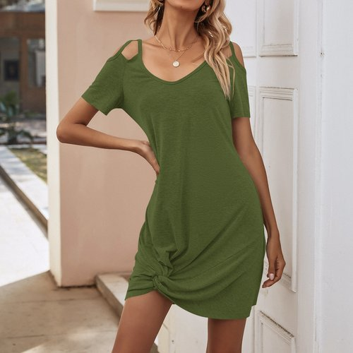 Robe t-shirt col bardot - SHEIN - Modalova