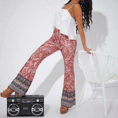 Pantalon pattes d'éléphant à imprimé - SHEIN - Modalova