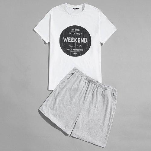 Slogan T-shirt & Short Ensemble de pyjama - SHEIN - Modalova
