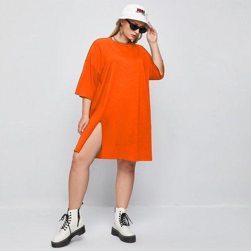 Fendu T-shirt Robe - SHEIN - Modalova