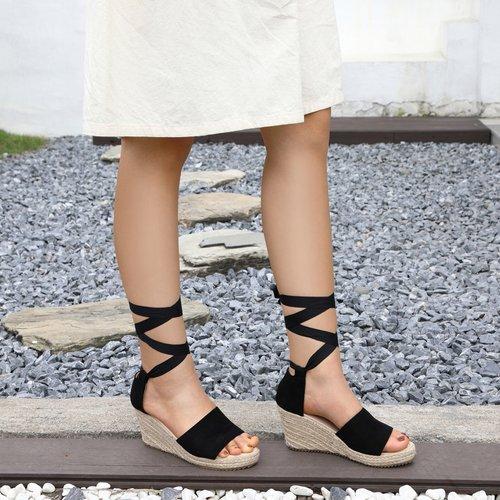 Sandales compensées espadrilles minimalistes - SHEIN - Modalova