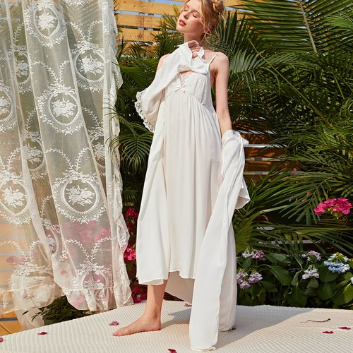 Robe de chambre avec dentelle & Robe - SHEIN - Modalova