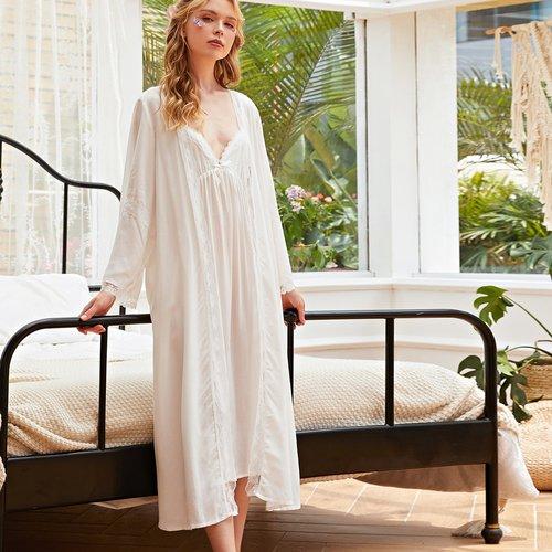 Ensemble de pyjama robe de nuit avec dentelle & robe de chambre ceinturée - SHEIN - Modalova