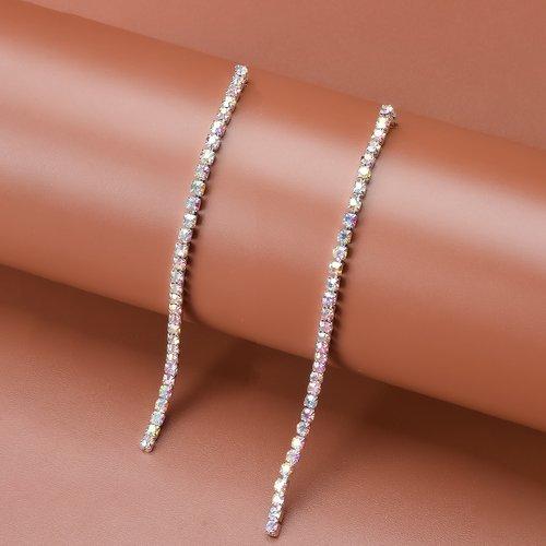 Boucles d'oreilles longues à strass - SHEIN - Modalova