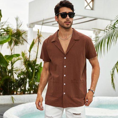 Chemises Boutons Casual Unicolore - SHEIN - Modalova